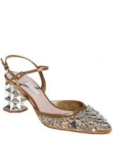 Rhinestone Satin Chunky Heel Sandals