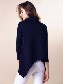 Purple Half Sleeve Asymmetry T-Shirt - DEEP BLUE S