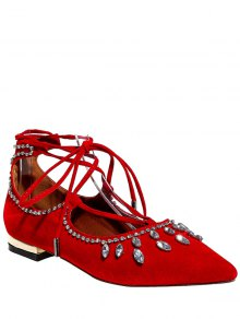 Flock Rhinestone Lace-Up Flat Shoes - Red 34