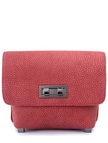 Solid Color Embossing Hasp Crossbody Bag
