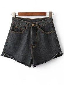 Fringe High Waist Denim Shorts - Black 28
