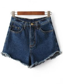 Fringe High Waist Denim Shorts - Deep Blue