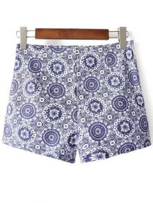 Tiny Floral Print High Waist Shorts - Blue 38