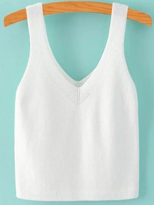 Pure Color V Neck Knit Tank Top - White S