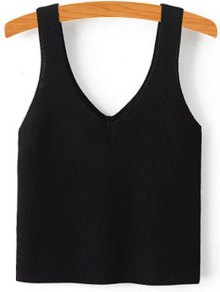 Pure Color V Neck Knit Tank Top - Black S