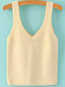 Pure Color V Neck Knit Tank Top