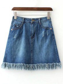 Rough Selvedge Zipper Fly Denim Mini Skirt