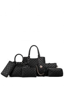 Checked Embossed PU Leather Tote Bag