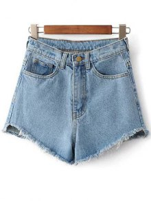Fringe High Waist Denim Shorts - Light Blue 28