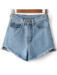 Short Taille Haute A Frange En Jean - Bleu Clair