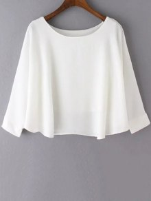 Solid Color Poncho Top - White S