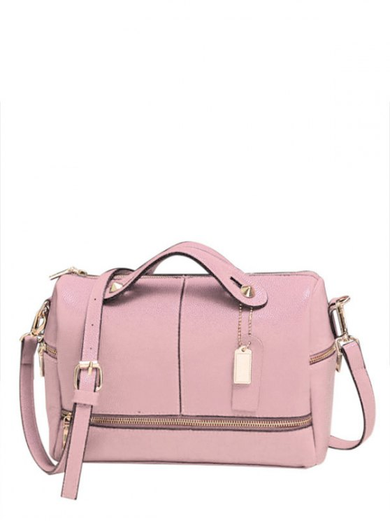 online Zip Pendant Solid Color Tote Bag - PINK