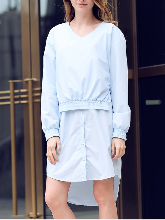Solid Color Spliced V-Neck Long Sleeve Shirt Dress - LIGHT BLUE M Mobile