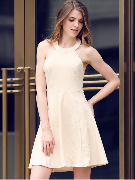 Semi Formal Halter A Line Dress - BEIGE M Mobile