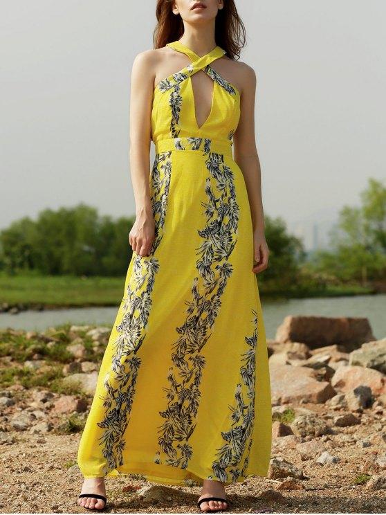 womens Cut Out Printed Beach Maxi Dress - YELLOW M