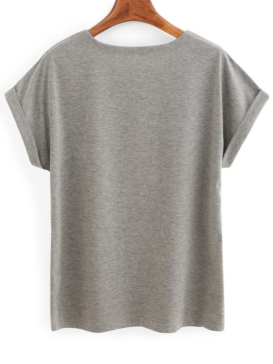 Rolled Sleeve Lettering T-Shirt - GRAY S Mobile