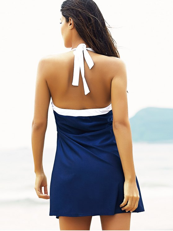 Halter Convertible Sailor Retro Swimdress Bathing Suit - RED AND WHITE AND BLUE XL Mobile