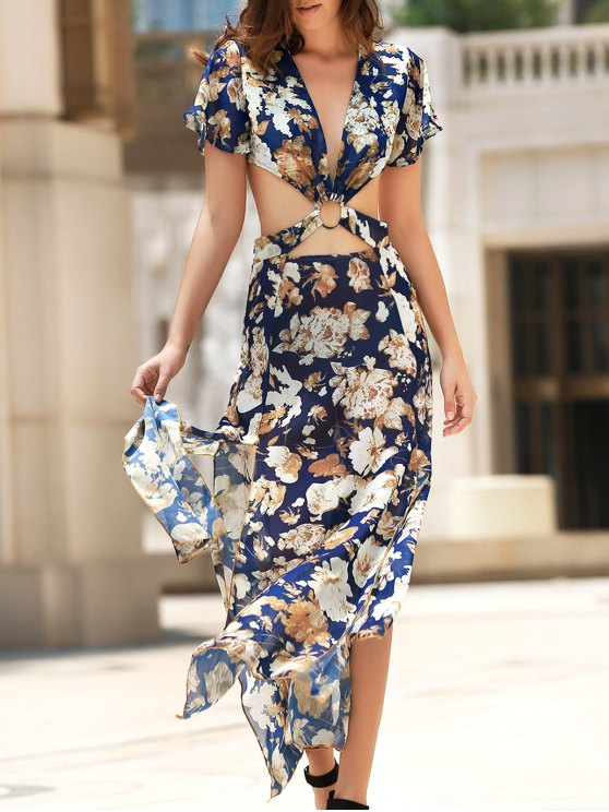 lady Full Floral Hollow Out Boho Dress - COLORMIX XL