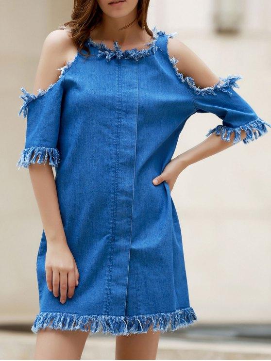 Cut Out Frayed Denim Dress - BLUE M Mobile