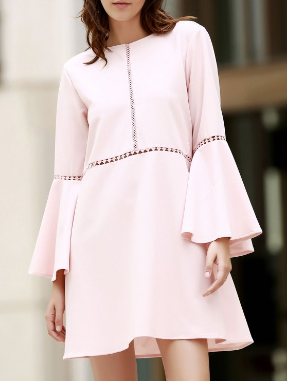 Loose Cut Out Round Neck Flare Sleeve Dress - PINK 2XL Mobile