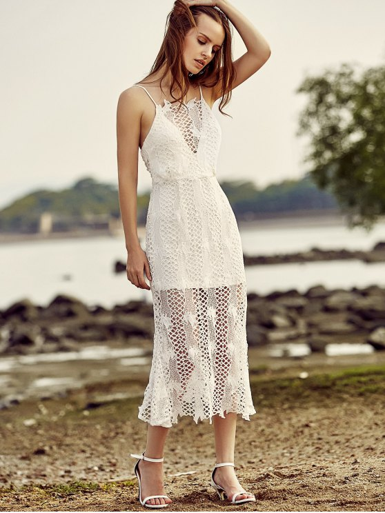 Backless Spaghetti Straps Openwork Lace Dress - WHITE 2XL Mobile