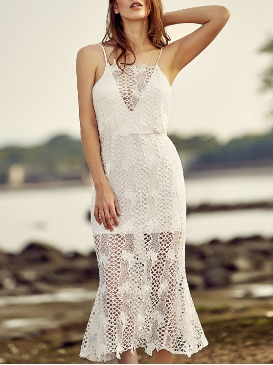 sale Backless Spaghetti Straps Openwork Lace Dress - WHITE XL