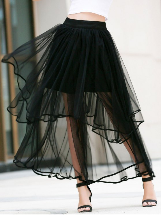 Hem irregular en capas falda de tul - Negro L