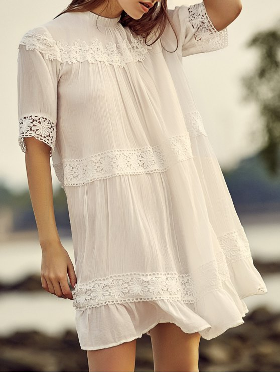 White Lace Splicing Stand Neck Half Sleeve Dress - WHITE L Mobile