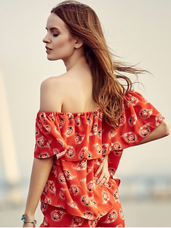 women's Floral Ruffles Off The Shoulder Blouse - RED XL