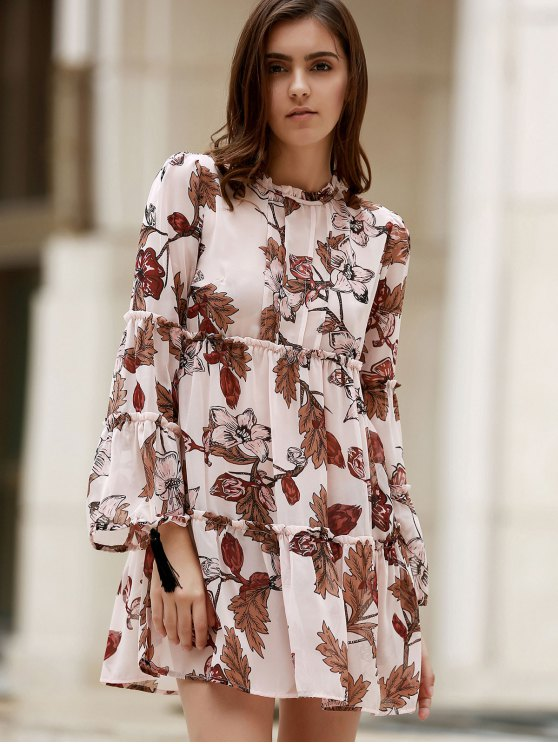 Printed Round Collar Long Sleeve Loose Dress - SHALLOW PINK S Mobile