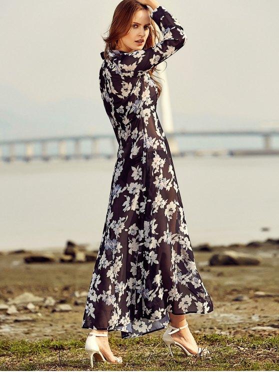 Vintage Floral Print Shirt Collar Long Sleeve Dress - BLACK S Mobile