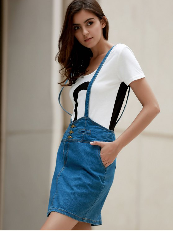 Packet Buttocks Denim Suspender Skirt - BLUE L Mobile