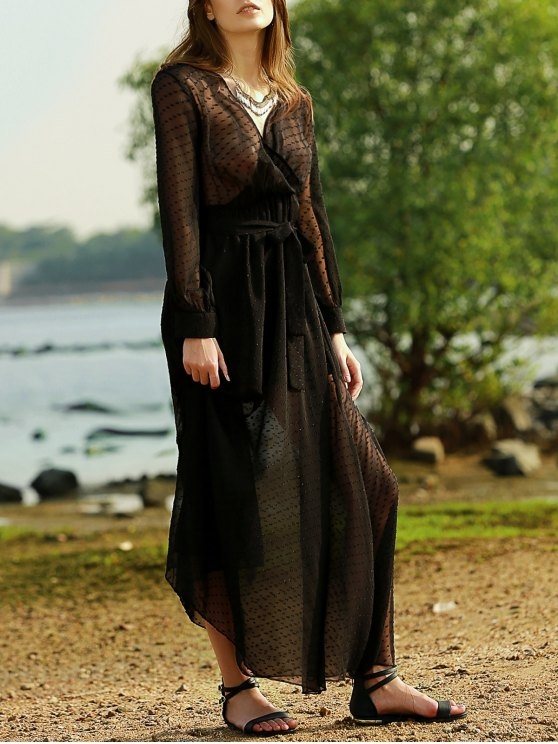 unique Black Plunging Neck Long Sleeve Belted Maxi Dress - BLACK M