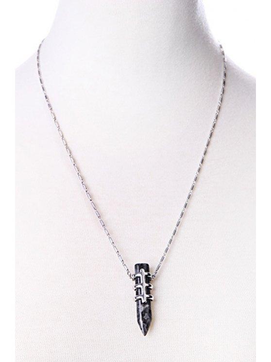 Bullet Shape Pendant Necklace - BLACK  Mobile