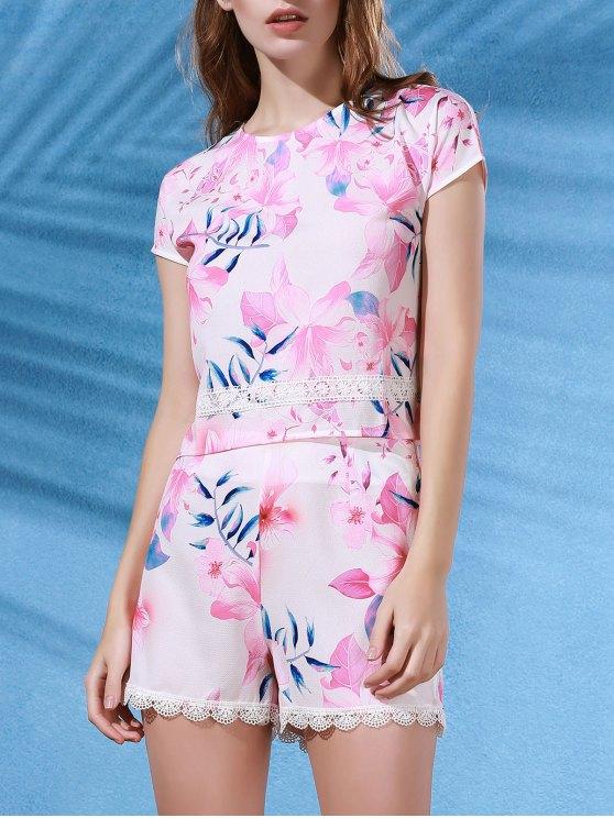 Floral Print Crop Top + Lace Trim Shorts Twinset - Multicolore S