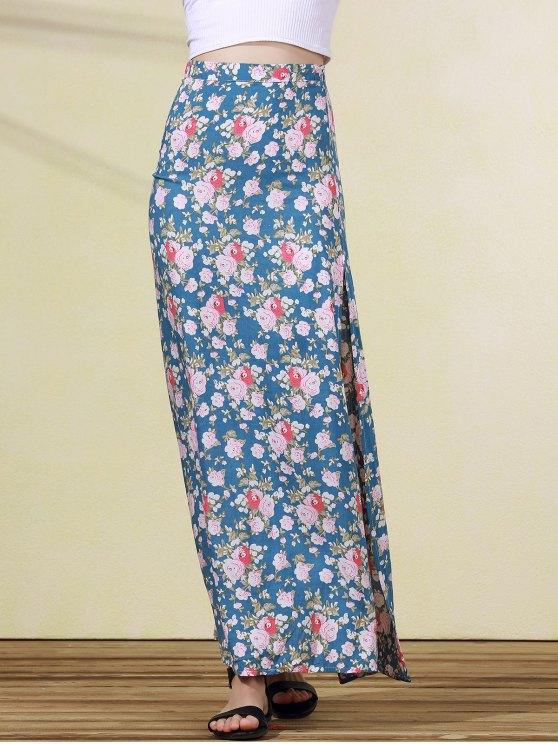 High Slit Rose Print Skirt - BLUE M Mobile