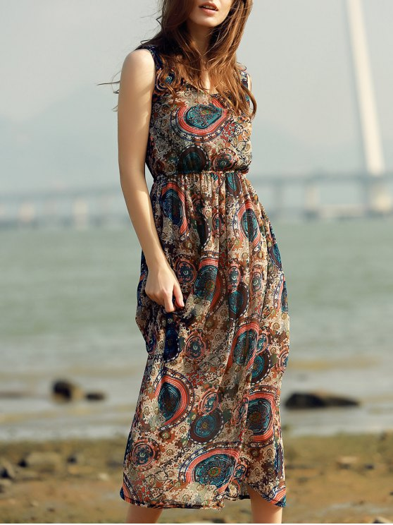 Printed Beach Maxi Dress - COLORMIX S Mobile