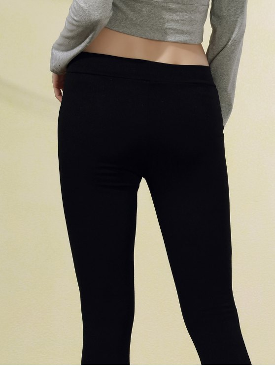 Ripped Casual Black Narrow Feet Pants - BLACK M Mobile