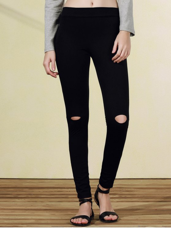 shops Ripped Casual Black Narrow Feet Pants - BLACK M