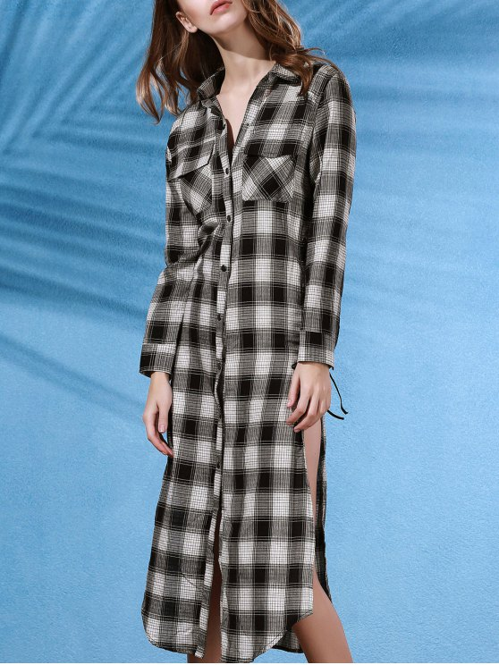 Plaid Flannel Shirt Dress with Pocket - WHITE AND BLACK L Mobile