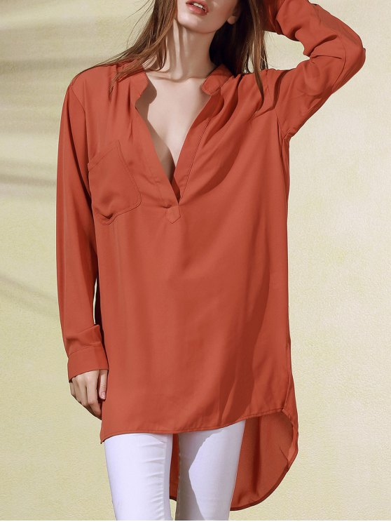 sale High-Low Plunging Neck Long Sleeve Dress - BRICK-RED M
