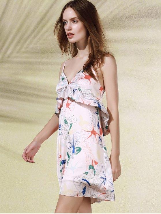 Floral Print Flounce Ruffles Cami Sleeveless Dress - PINK XL Mobile