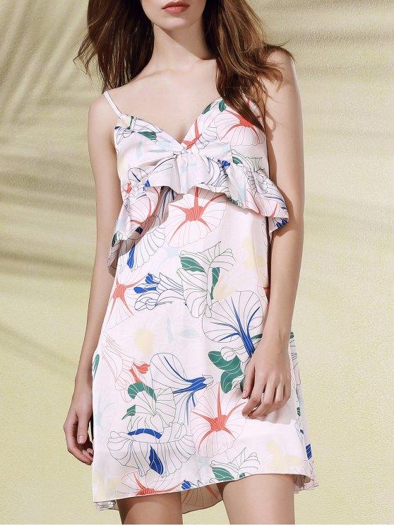 Floral Print Flounce Ruffles Cami Robe sans manches - ROSE PÂLE 2XL