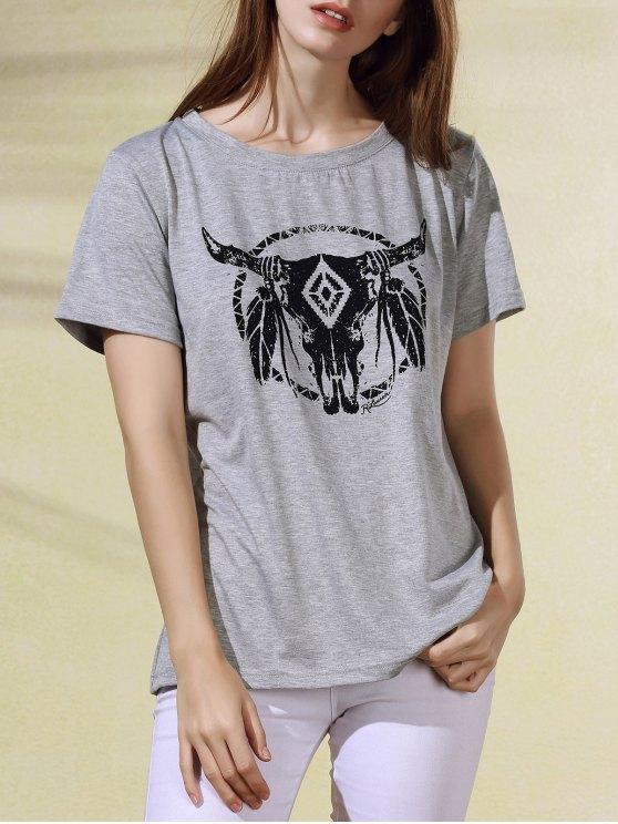 Breve historieta de la manga de impresión cuello redondo T-shirt - Gris Claro XL