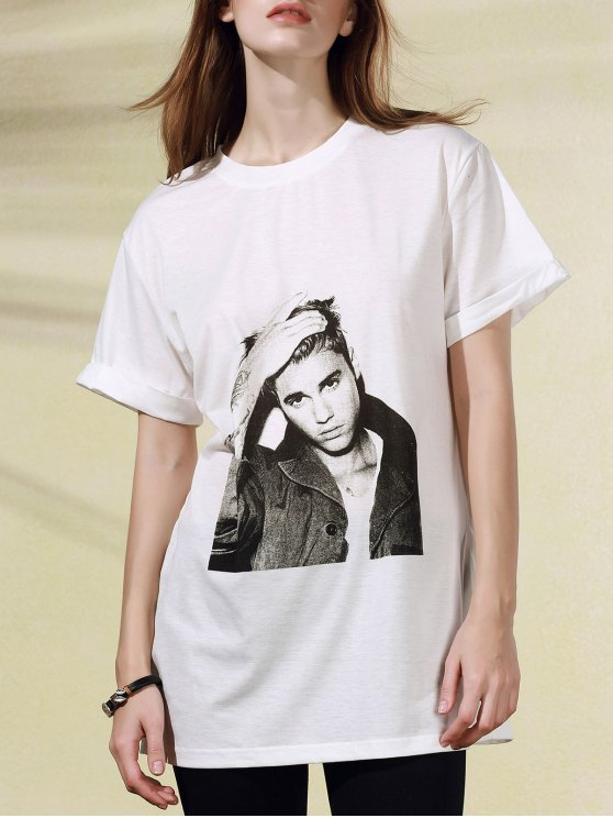 Figura Patrón cuello redondo manga corta de la camiseta - Blanco S