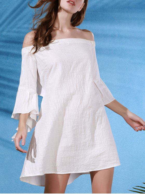 Back Cut Out Off The Shoulder Butterfly Sleeve Dress - WHITE M Mobile
