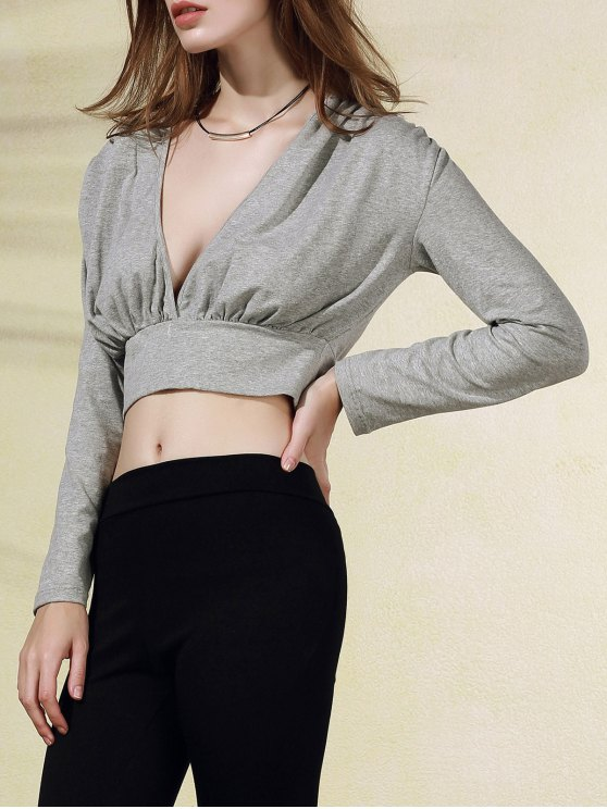 fashion Plunging Neck Long Sleeve Crop Top - GRAY 2XL