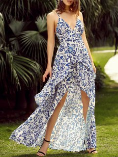 High Out Back Lace Up Maxi Dress - Blue And White 2xl