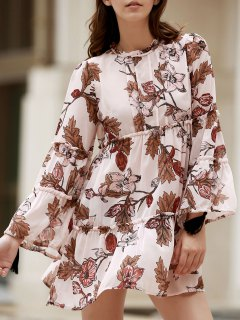 Printed Round Collar Long Sleeve Loose Dress - Shallow Pink M