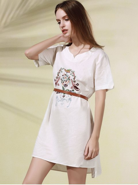 chic High Low Embroidered Side Split Dress - WHITE ONE SIZE Mobile